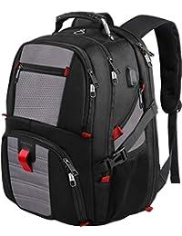 17 英寸笔记本电脑背包,大号行李背包带 USB 充电端口男女通用,TSA 友好商务旅行笔记本电脑背包,防盗电脑背包,大学院书包,灰色 17inch