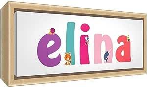 Little Helper 帆布彩色样品实木框架带女孩姓名 Elina 25 x 63 x 3 厘米,中号