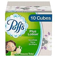 Puffs Plus 乳液面巾纸,10 个立方体,每立方体 52 个纸巾