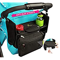 带杯架和湿巾袋的婴儿车收纳袋 - 带防滑带的婴儿车配件提供更好的支撑和稳定性 - 无数口袋提供额外存储空间 - Hujom 的通用婴儿车收纳袋