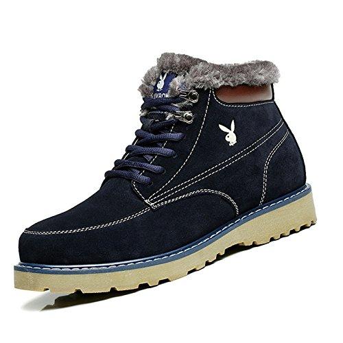 美国花花公子冬季新款棉鞋男高帮加绒保暖二棉鞋高帮休闲男鞋子男士反绒短靴冬鞋CX39585F