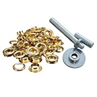 Trimming Shop Gold Eyelets Grommet with Three Set Hand Tool for Tarpaulins Fabric Tent Vinyl Banner - 50 x 12.5mm