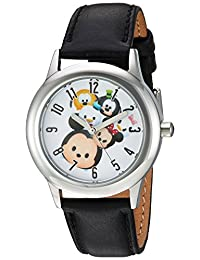 Disney 男孩 Tsum' 石英不锈钢休闲手表,颜色:黑色(型号:WDS000120)