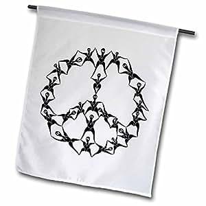 perkins Designs 字符–P2people OF 和平 P2people 人物 formed into 抽象和平标志–旗 12 x 18 inch Garden Flag