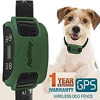 AngelaKerry 无线狗围栏系统,带GPS,户外宠物封闭系统可充电防水项圈850YD遥控器,适用于15磅-120磅(约4.9千克)狗(橄榄绿,1个GPS接收器)