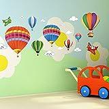 amaonm 可移除创意3d HOT AIR BALLOON 飞机 and smile 云彩贴墙贴儿童房墙壁装饰艺术装饰贴纸幼儿园装饰3d 艺术贴花卧室浴室贴纸