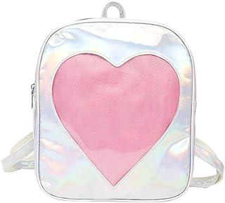 TENDYCOCO Ita 背包带透明窗口爱心书包全息图背包 女孩 银色 27*32cm