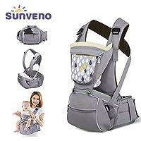 SUNVENO Baby Hipseat 背带,2合1舒适符合人体工程学的腰围凳婴儿背带臀座椅 灰色