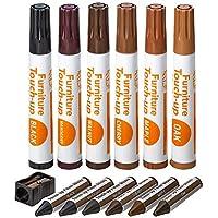 家具修复套件木质记号笔 - 13 件套 - 记号笔和蜡笔带卷笔套装,适用于染色、划痕、木地板、桌子、书桌、木工、床柱、补漆和封面- Katzco 出品