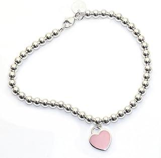 Tiffany & Co 蒂芙尼 純銀串珠手鏈 粉紅色琺瑯飾面 RTT 3097811