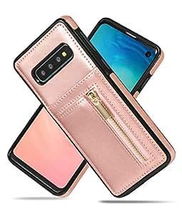 三星 Galaxy S10 Plus 带卡夹钱包式手机壳,Vodico 耐用纤薄双皮革钱包背面保护盖拉链口袋钱包带信用卡插槽和支架功能 玫瑰金