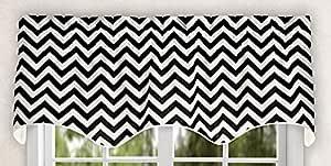 "Ellis Curtain Ellis Curtain Reston Chevron Stripe Lined Scallop Valance, 50"" x 17"", Black"