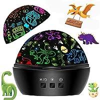 3-4 岁男孩男孩礼物,恐龙男孩礼物,5 6 7 岁以上儿童汽车玩具夜灯投影仪灯,男孩生日礼物,圣诞节万圣节男孩礼物(2合1黑色)