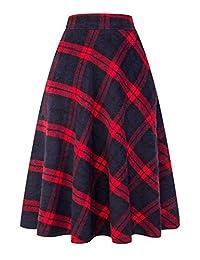 idealsanxun 女式高弹性腰围长裙 A 字格子冬季温暖喇叭长裙