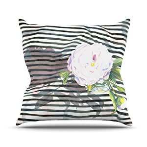 Kess InHouse S. Seema Z 牡丹和白色黑色室内/室外抱枕 18 x 18 英寸(长x宽) 黑色 SZ2002AOP03
