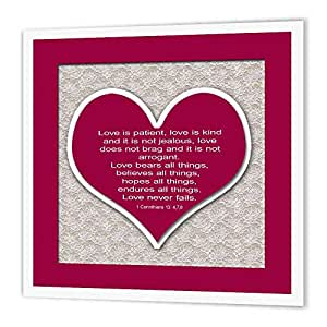 ht_178769 777images Designs Christian - Red heart and bible verse on love on a lace background. - Iron on Heat Transfers