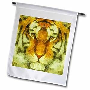 3dRose fl_201664_1 抽象老虎花园旗,12 x 18 英寸