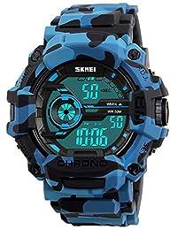 fanmis 男式数字 LED 运动手表防水电子休闲军装手腕迷彩蓝色表带男孩手表,硅胶表带夜光* WATCHES
