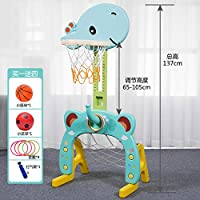 儿童篮球架玩具家用户外室内可升降投篮框健身足球门1-8岁 (孔雀蓝(三合一))