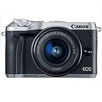 佳能Canon 微单EOS M6 15-45mm套机 自拍数码相机高清 鹿晗同款微单 (套餐版【含配件】, 银色)
