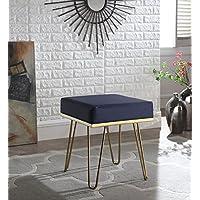 Iconic Home Catania 方形软垫 PU 皮革软垫黄铜成品框架发针腿现代现代现代风格