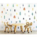 森林墙贴花,H2MTOOL 可移除儿童松树墙贴 松树