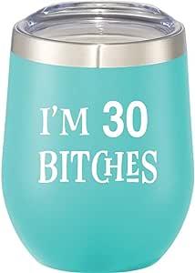 340.19 克不锈钢无*杯带盖和吸管 - 成人*杯 Mint - 30 Bitches