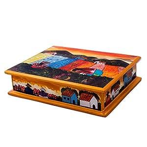 NOVICA 喷漆玻璃珠宝盒,花家-PARENT(153619-P) JB0019