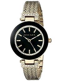 Anne Klein 女士施华洛世奇水晶重音网格手链手表,金色/黑色