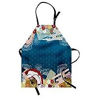 Ambesonne 现代围裙,日本现代花朵手扇蓝色背景印花,中性款厨房围嘴,可调节颈部,适合烹饪园艺,成人尺码,多色