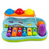 Toysery 彩虹木琴钢琴踏板板板儿童固定椅,带球和锤子 - Babies Piano Toys - *佳学步儿童礼物