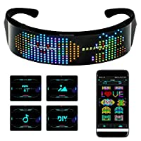 efiealls LED 蓝牙眼镜,全彩 LED 显示屏智能眼镜 APP连接控制、DIY、文字、涂鸦、动画、节奏、USB 充电 LED 眼镜 适用于派对狂欢节万圣节圣诞节