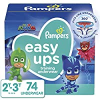 Pampers Easy Ups 训练男孩内裤,尺码 4 2T-3T,74 片 Size 4 (2T-3T) 2T-3T (16-34 lb) 74