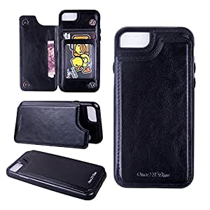 ONCE ZY TIME 商务风格高级 iphone 8PU 皮革保护套磁性翻转盖带卡槽支架 iphone 4iphone 7 黑色