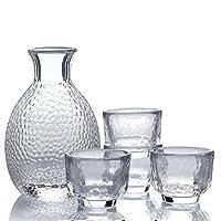 LIUIUSU 晶彩系列 锤目纹酒具五件套津轻玻璃日式清酒白酒杯壶套装7件套创意玻璃分酒器温酒壶品茗杯 透明色
