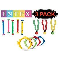 Intex 水下游泳/潜水池玩具鱼环(4 个环)、潜水棒(5 根棍)和水上潜水球(3 个球)礼品包 - 3 包