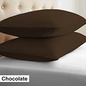 "Furnish Homes * 埃及棉 2 件欧式枕套 450 支纯色图案 所有尺寸和颜色 巧克力色 26"" x 26"" (66cm x 66cm) 1"