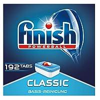 Finish Classic 洗碗机用洗涤块 无磷酸盐 洗涤块带有Powerball清洁球,适用于碗碟基础清洁 3个月用量,192片巨量装
