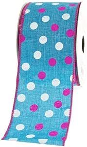 生动圆点帆布缎带,2-1/2 英寸,10 码 蓝绿色 2-1/2 inches FCCVD2102TRQ