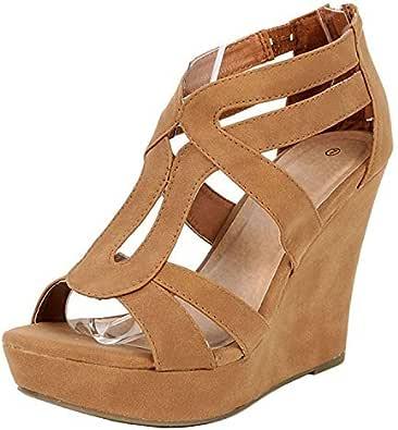 TOP MODA 女式 lindy-3防水台凉鞋 Tan Lin 8 B(M) US