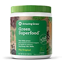 Amazing Grass Green 食品胶囊:粉末与螺旋藻,小球藻,消化酶和益生元,原始,30粒,8.5盎司,240克