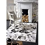 Origin 水彩花卉灰色地毯,热组聚丙烯,80 x 150
