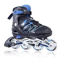 Zuwaos 男孩女孩可调节轮滑鞋适合儿童和成人带发光轮子尺寸(S-XL)