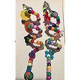 2 包 - JellyBeadZ 品牌鹦鹉割草机/天花玩具 - 20.32 cm - 小马珠、铃铛和螺旋黄铜线