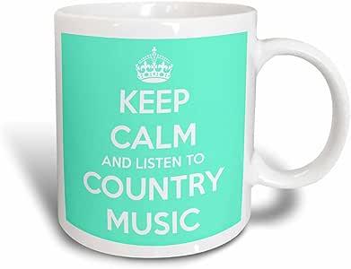 3dRose mug_173403_3 Keep Calm and Listen to Country Music Turquoise and White Magic Transforming Mug, 11 oz, Black/White
