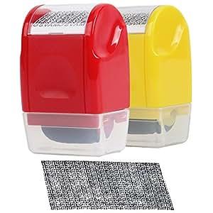 MyLifeUNIT 身份保护辊印章,隐私保护身份证*印章(2 件装) 小号 红色,黄色
