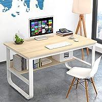 书桌学生学习桌子台式电脑桌笔记本钢木桌家用简约办公桌经济型卧室小桌 (U型枫樱木色(100x60))