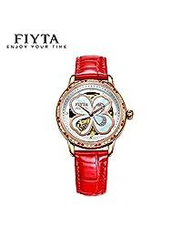 飞亚达手表四叶草女士腕表镂空背透自动机械表钟表 四叶草红带LA8262.GWSS