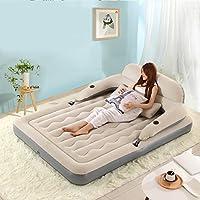 家用充气床客人床备用床户外郊游床单人床临时床车载双人气垫沙发床 (米灰色(枕头、车载充气泵))