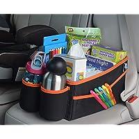 Mighty Clean 汽车存储收纳袋 - 用于后备箱或前后座椅,带 8 个侧口袋 + 1 个拉链袋 + 2 个网袋 + 2 个杯架,适用于玩具、书籍、饮料、纸巾纸、尿布等